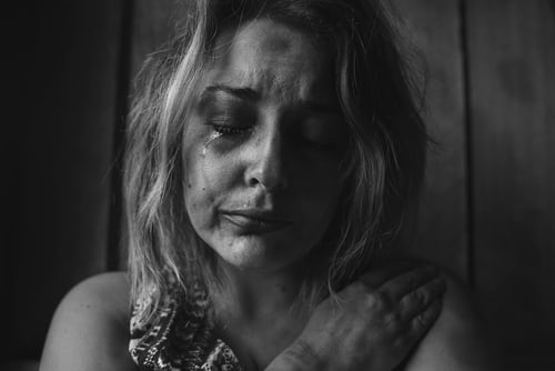 woman crying with depression