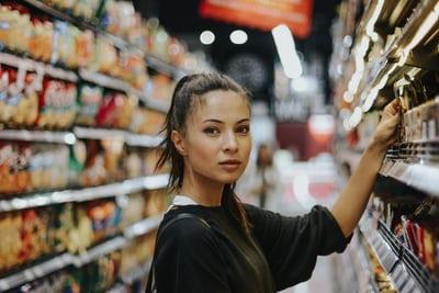 woman buying diet food